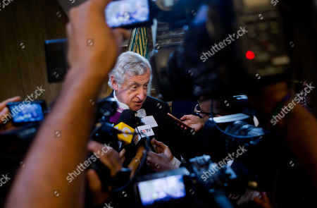 French special envoy to the Middle East Pierre Vimont speaks during a press conference after his meeting with Arab League Secretary General Nabil Elaraby, at the Arab League Headquarters in Cairo, Egypt