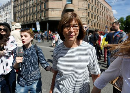 Rebecca Harms Rebecca Harms, a member of the European Parliament, center, takes a part in a gay pride march in Kiev, Ukraine, . Authorities sanctioned gay rights marches after the new pro-Western government came into office, and police forces were guarding the procession in central Kiev, Sunday, to protect against far-right groups