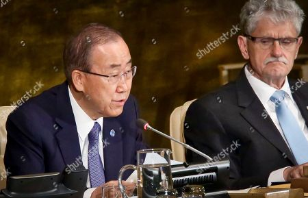 UN President of the U.N. General Assembly Mogens Lykketoft, right, listens as U.N. Secretary-General Ban Ki-moon address the opening of the General Assembly high-level meeting on ending AIDS, at U.N. headquarters