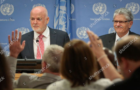 Peter Thomson Current U.N. General Assembly (UNGA) President Mogens Lykketoft, right, listens as Fiji U.N. Ambassador Peter Thomson, left, holds a press conference after being elected the next UNGA president, at U.N. headquarters