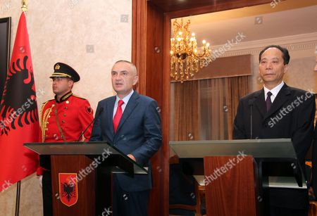 Albania China Albanian Speaker Ilir Meta, second left, speaks at a news conference with China's Deputy Speaker of the National People's Congress Ji Bingxuan, in Tirana