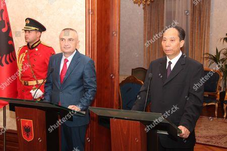 Ji Bingxuan Ilir Meta Visiting China's Deputy Speaker of the National People's Congress, Ji Bingxuan, right, speaks at a news conference held together with host Albanian Speaker Ilir Meta, in Tirana