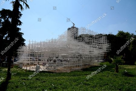Albania Japan People take part at an inauguration ceremony of the 541 sq. meter (650 sq. yards) steel and bicarbonate tube structure made by the Japanese author Sou Fujimoto as a space for entertainment activities, raised in front of the Gallery of Arts in the Albanian capital, Tirana