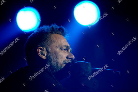 "Vicentico Vicentico, a member of the Argentine rock band Los Fabulosos Cadillacs, performs during the group's comeback, in Buenos Aires, Argentina, . The group presented their latest album, ""La Salvación de Solo y Juan"