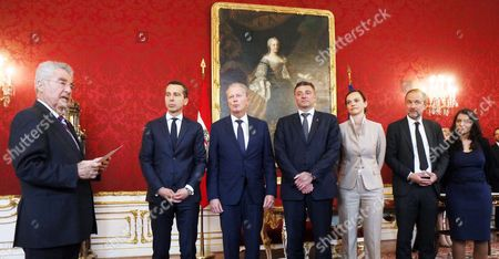 Christian Kern, Joerg Leichtfried, Sonja Hammerschmid, Muna Duzdar, Thomas Drozda, Reinhold Mitterlehner Austrian President Heinz Fischer, left, swears in the new members of the Austrian government of the Social Democrats, center from left, Infrastructure Minister Joerg Leichtfried, Education Minister Sonja Hammerschmid, Culture Minister Thomas Drozda and Immigrant State Secretary Muna Duzdar, at the presence of the new Chancellor Christian Kern, second left, and Vice Chancellor Reinhold Mitterlehner, third left, during the inauguration ceremony at the Hofburg palace in Vienna, Austria