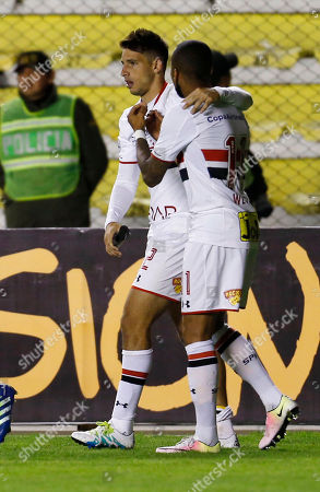 Jonathan Calleri, Wesley Jonathan Calleri, of Brazil's Sao Paulo, left, celebrates with his teammate Wesley, after scoring against Bolivia's The Strongest, during a Copa Libertadores soccer match in La Paz, Bolivia