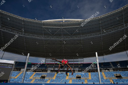 United States' Chaunte Lowe competes in the women's high jump during the Athletics test event at the Rio Olympic Stadium in Rio de Janeiro, Brazil, . The track and field test event is the last of more than 40 tests events for the Rio de Janeiro Olympics with the games opening in less than three months. The three-day test event ends Monday at Olympic Stadium in the northern neighborhood known as Engenho de Dentro
