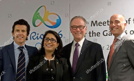 Nawal El Moutawakel, Carlos Arthur Nuzman, Christophe Dubi, Sidney Levy Olympic Games Executive Director Christophe Dubi, left, Nawal El Moutawakel, second left, head of the International Olympic Committee's evaluation commission, Brazil Olympic Committee President Carlos Arthur Nuzman, second right, and Rio 2016 Committee Chief Executive Officer Sidney Levy lpose for a photo after a press conference in Rio de Janeiro, Brazil, . Rio de Janeiro will host the 2016 Olympic games