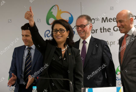 Nawal El Moutawakel, Carlos Arthur Nuzman, Christophe Dubi, Sidney Levy Nawal El Moutawakel, head of the International Olympic Committee's evaluation commission, makes a thumbs up, as Olympic Games Executive Director Christophe Dubi, left, Brazil Olympic Committee President Carlos Arthur Nuzman, second right, and Rio 2016 Committee Chief Executive Officer Sidney Levy, leave after a press conference in Rio de Janeiro, Brazil, . Rio de Janeiro will host the 2016 Olympic games