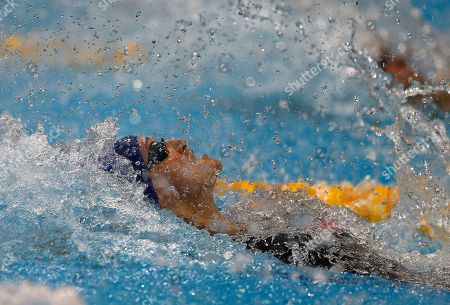 Britain's Francesca Halsall competes during the Women's 50m Backstroke final at the European Aquatics Championships in London