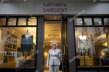 Kathryn Sargent Kathryn Sargent who is the first female master tailor and head cutter to open a store on Savile Row, London's traditional street of bespoke men's tailoring, poses for photographers at the store entrance, . The tailoring house, which is number 37 Savile Row, opens to the public today