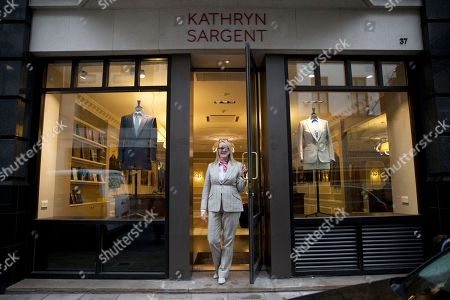 Kathryn Sargent Kathryn Sargent who is the first female master tailor and head cutter to open a store on Savile Row, London's traditional street of bespoke men's tailoring, poses for photographers in the store entrance, . The tailoring house, which is number 37 Savile Row, opens to the public today