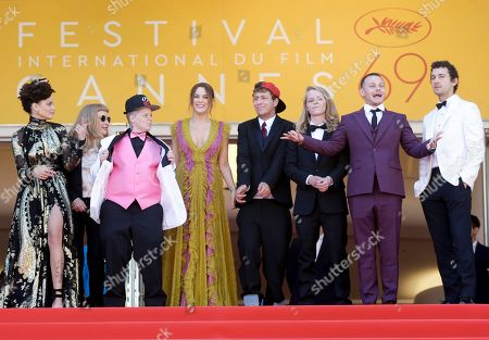 Actors from left, Sasha Lane, director Andrea Arnold, Veronica Ezell, Riley Keough, Raymond Coalson, Isaiah Stone, Mccaul Lombardi and Shia Labeouf, pose for photographers upon arrival at the screening of the film American Honey at the 69th international film festival, Cannes, southern France