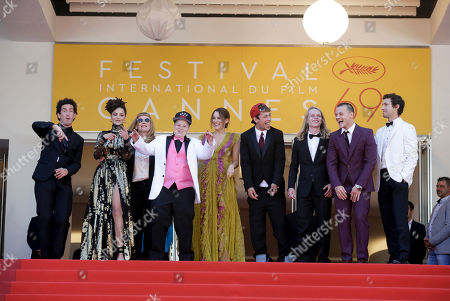 Director Andrea Arnold, third left, poses for photographers with actors, from second left, Sasha Lane, Veronica Ezell, Riley Keough, Raymond Coalson, Isaiah Stone, Mccaul Lombardi and Shia Labeouf, upon arrival at the screening of the film American Honey at the 69th international film festival, Cannes, southern France