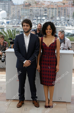 Actress Maeve Jinkings, right and actor Humberto Carrao pose for photographers during a photo call for the film Aquarius at the 69th international film festival, Cannes, southern France