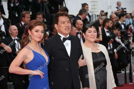 Actress Andi Eigenmann, director Brillante Mendoza and actress Jaclyn Jose, from left, pose for photographers upon arrival at the awards ceremony for the 69th international film festival, Cannes, southern France