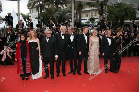 Stock Picture of Jury members Katayoon Shahabi, Vanessa Paradis, President of the Jury George Miller, Donald Sutherland, Mads Mikkelsen, Laszlo Nemes, Kirsten Dunst, Arnaud Desplechin and Valeria Golino, from left, pose for photographers upon arrival at the awards ceremony for the 69th international film festival, Cannes, southern France