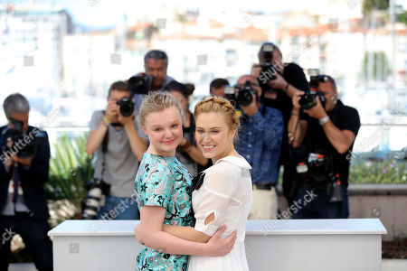 Actresses Maria Dragus, left and Malina Manovici pose for photographers during a photo call for the film Bacalaureat at the 69th international film festival, Cannes, southern France