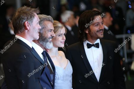 Jean Francois Richet, Mel Gibson, Erin Moriarty, Diego Luna Actor Mel Gibson, from left, director Jean Francois Richet, actors Diego Luna and Erin Moriarty pose for photographers upon arrival at the screening of the film Blood Father at the 69th international film festival, Cannes, southern France