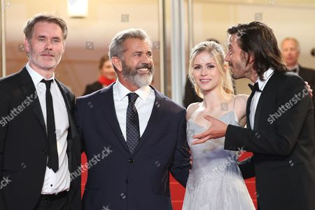 Jean Francois Richet, Mel Gibson, Erin Moriarty, Diego Luna Director Jean Francois Richet, from left, actors Mel Gibson, Erin Moriarty and Diego Luna pose for photographers upon arrival at the screening of the film Blood Father at the 69th international film festival, Cannes, southern France