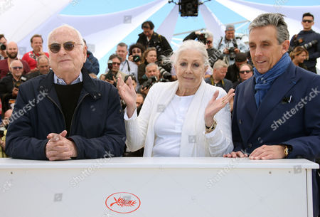 Actress Vanessa Redgrave, centre poses for photographers with director Jim Ivory, left and distributor Charles S. Cohen, during a photo call for the film Howards End, at the 69th international film festival, Cannes, southern France