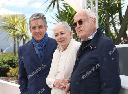 Actress Vanessa Redgrave, centre poses for photographers with director Jim Ivory, right and distributor Charles S. Cohen, during a photo call for the film Howards End, at the 69th international film festival, Cannes, southern France