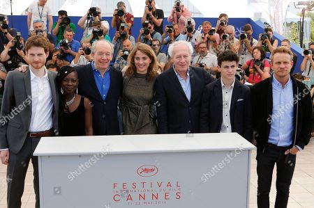 Actors Olivier Bonnaud, Nadege Ouedraogo, director Luc Dardenne, Adele Haenel, director Jean-Pierre Dardenne, Louka Minnella and Jeremie Renier, from left, pose for photographers during a photo call for the film La Fille Inconnue (The Unknown Girl) at the 69th international film festival, Cannes, southern France