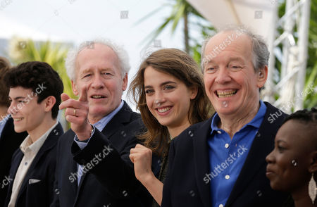 Actors Louka Minnella, director Jean-Pierre Dardenne, Adele Haenel, director Luc Dardenne, and Nadege Ouedraogo, from left, pose for photographers during a photo call for the film La Fille Inconnue (The Unknown Girl) at the 69th international film festival, Cannes, southern France