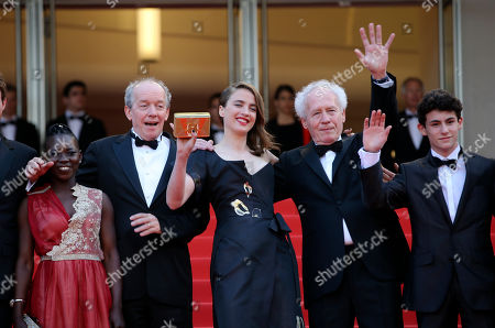 Actors Nadege Ouedraogo, director Luc Dardenne, Adele Haenel, director Jean-Pierre Dardenne and Louka Minnella, from left, pose for photographers upon arrival at the screening of the film La Fille Inconnue (The Unkown Girl) at the 69th international film festival, Cannes, southern France