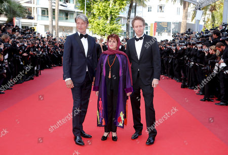 Jury members Mads Mikkelsen, Katayoon Shahabi and Laszlo Nemes, from left, pose for photographers upon arrival at the screening of the film Loving at the 69th international film festival, Cannes, southern France