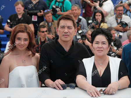 Actress Andi Eigenmann, director Brillante Ma. Mendoza and Jaclyn Jose from left, pose for photographers during a photo call for the film Ma' Rosa at the 69th international film festival, Cannes, southern France