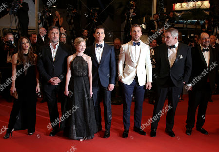 Stock Photo of Actress Murielle Telio, actor Russell Crowe, actress Angourie Rice, actor Matt Bomer, actor Ryan Gosling, director Shane Black and Producer Joel Silver, from left, pose for photographers upon arrival at the screening of the film The Nice Guys at the 69th international film festival, Cannes, southern France