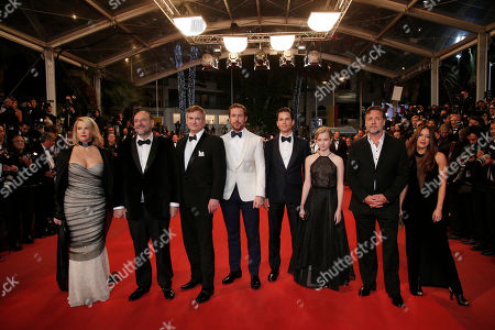 Stock Image of Actress Murielle Telio, actor Russell Crowe, actress Angourie Rice, actor Matt Bomer, actor Ryan Gosling, director Shane Black and Producer Joel Silver, from right, pose for photographers upon arrival at the screening of the film The Nice Guys at the 69th international film festival, Cannes, southern France