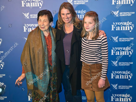 """French actress Leonie Souchaud, left, French director Lola Doillon, center, and German author born Fanny Ben-Ami pose for the film premiere""""le voyage de Fanny""""in Paris, France"""