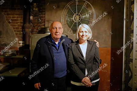"French Director and photographer Raymond Depardon and his wife Director and Producer Claudine Nougaret pose for ""Les Habitants"" premiere in Paris, France"