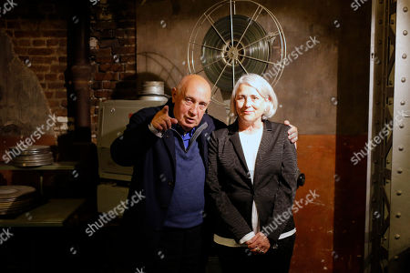 "French Director and photographer Raymond Depardon, left, and his wife Director and Producer Claudine Nougaret pose for ""Les Habitants"" premiere in Paris, France"