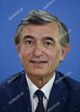 Former French Foreign Minister Philippe Douste-Blazy and candidate for the upcoming election for the new United Nations Health Organization Director General, poses prior to a press conference in Paris, France, . The WHO will elect the new general-director from a list of three at the May 2017 World Health Assembly
