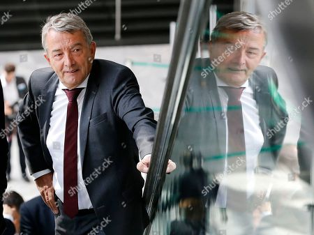 Former President of German Football Federation DFB Wolfgang Niersbach who stepped back from his post arrives for a meeting of the German Football Federation DFB in Frankfurt, Germany, . A new President will be elected during the meeting