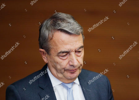 ThenPresident of German soccer federation Wolfgang Niersbach addresses the media announcing that he steps back from his post as president in Frankfurt. The adjudicatory chamber of FIFA's independent Ethics Committee has opened formal adjudicatory proceedings against Niersbach on
