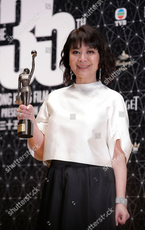 """Elaine Jin Taiwanese actress Elaine Jin poses after winning the Best Supporting Actress award for her movie """"Port of Call"""" during the Hong Kong Film Awards in Hong Kong"""