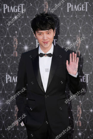 Stock Photo of Feng Shaofeng Chinese actor Feng Shaofeng poses on the red carpet of the Hong Kong Film Awards in Hong Kong
