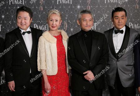 Tony Leung Ka-fai, Tsui Hark, See Nam Sang, Yu Dong From right, Hong Kong actor Tony Leung Ka-fai, directors Tsui Hark, See Nam Sang and Chinese film producer Yu Dong pose on the red carpet of the Hong Kong Film Awards in Hong Kong