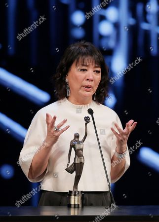 Stock Image of Elaine Jin Taiwanese actress Elaine Jin speaks after winning the Best Supporting Actress award for her role in the movie ' Port Of Call ' at the 35th Hong Kong Film Awards in Hong Kong