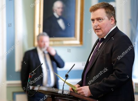 Iceland's Prime Minister Sigmundur David Gunnlaugsson, as he speaks during a parliamentary session in Reykjavik . Iceland's president on Tuesday April 5, 2016, refused a request from the prime minister to dissolve parliament and call a new election amid a dispute over the premier's offshore tax affairs. Embattled Prime Minister Sigmunder David Gunnlaugsson is facing growing calls for him to step down because of reported offshore financial dealings by him and his wife that opposition lawmakers say show a significant conflict of interest with his job