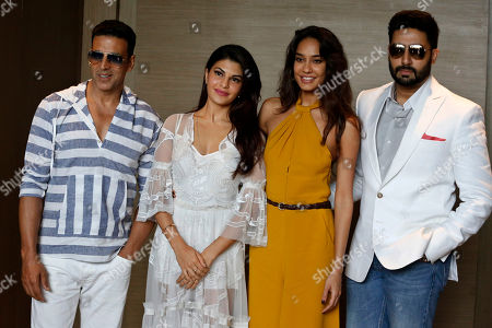 "Akshay Kumar, Jacqueline Fernandez, Lisa Haydon, Abhishek Bachchan From left to right, Bollywood actors Akshay Kumar, Jacqueline Fernandez, Lisa Haydon, and Abhishek Bachchan, pose for photographers during a press conference of their upcoming movie ""Housefull 3"" in Ahmadabad, India, . The movie will be released on June 3, 2016"