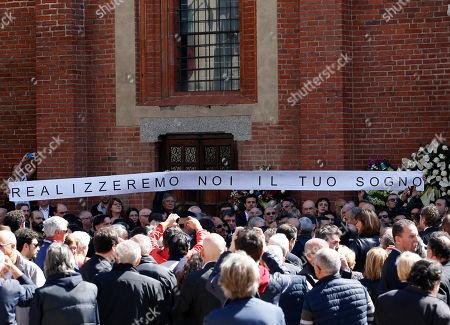 People attend the funeral of co-founder of Italy's 5-star Movement Gianroberto Casaleggio outside Milan's Santa Maria delle Grazie Basilica, Italy
