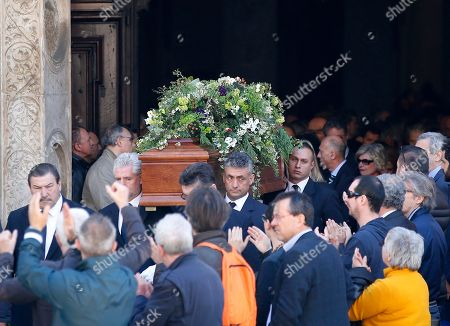 The coffin of co-founder of Italy's 5-star Movement Gianroberto Casaleggio is carried outside Santa Maria delle Grazie Basilica during his funeral in Milan, Italy