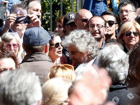 Beppe Grillo attends the funeral of the co-founder of Italy's 5-star Movement Gianroberto Casaleggio outside Santa Maria delle Grazie Basilica, in Milan, Italy