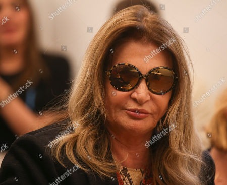 MariaLuisa Trussardi, attends a news conference in Milan, Italy, . (AP Photo/Luca Bruno