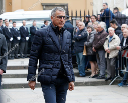 Former soccer player Mauro Tassotti attends the funeral of former Italy coach Cesare Maldini funeral, in Milan's Sant'Ambrogio's Basilica, Italy, . Maldini, who was also an AC Milan player and coach, died over the weekend at the age of 84
